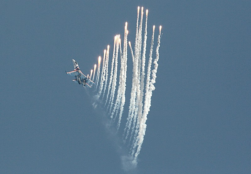 Russian knights finale flare popping